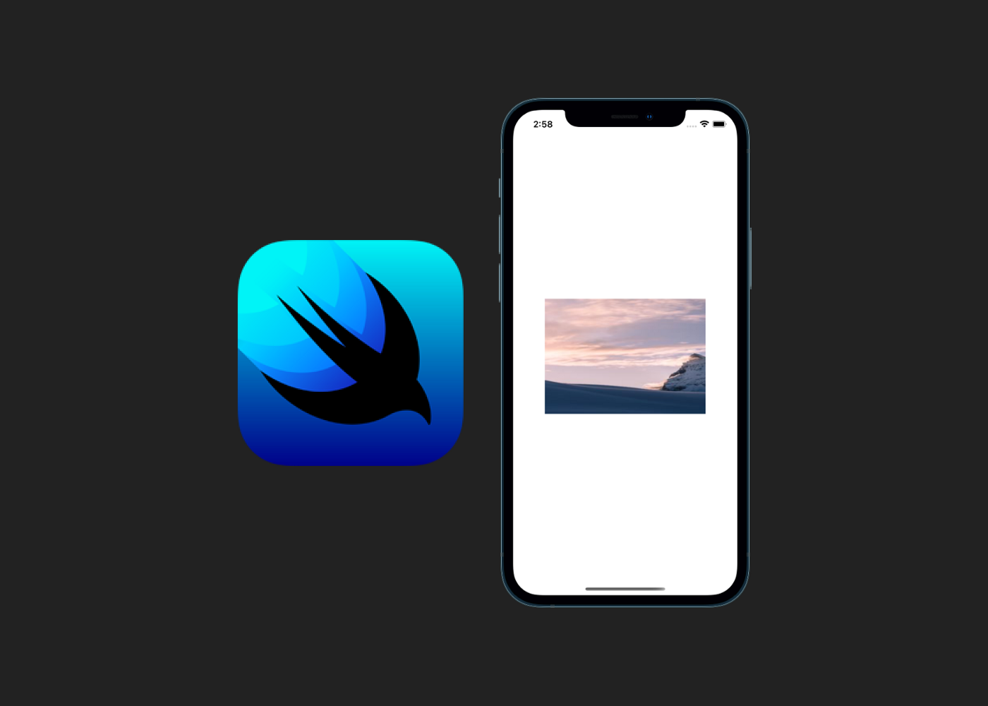 SwiftUI logo and iPhone displaying an image