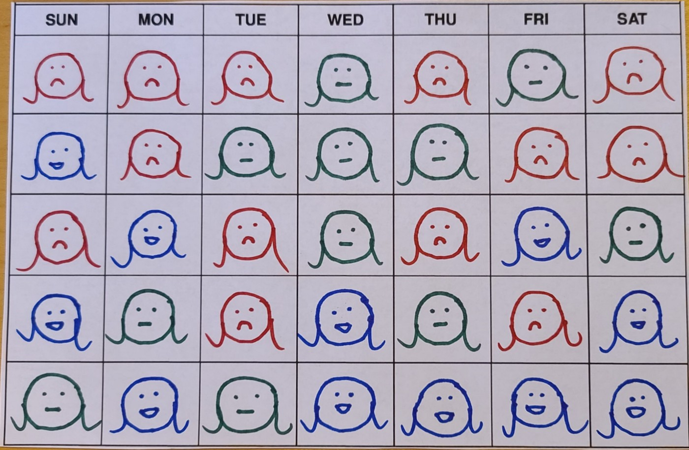 An illustrated calendar tracking sad, neutral, or happy emotions for a month with red, green, and blue faces.