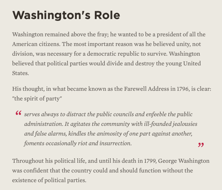 The spirit of the party distracts, enfeebles, agitates, falsely alarms, kindles animosity, foments riots—George Washington