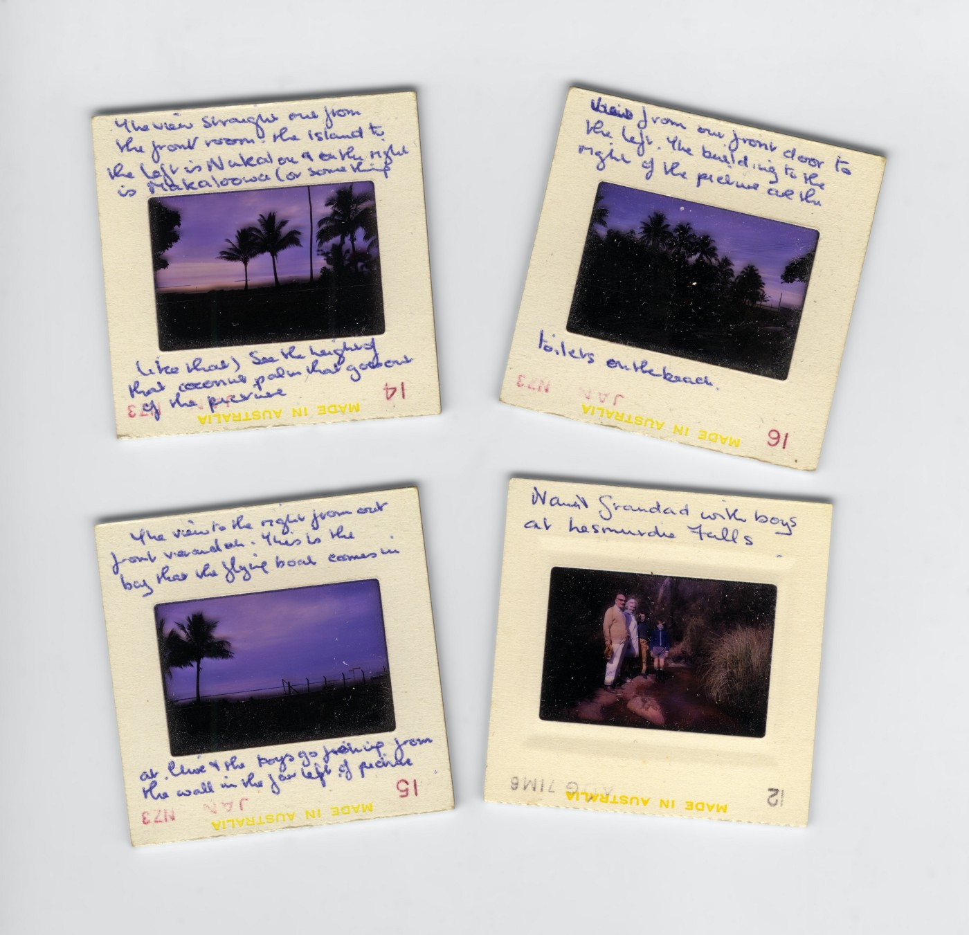 4 photographs that are stuck in photo frames that capture the sunset and different memories. Hand written notes and annotations about the process are along the frame outside of the picture.