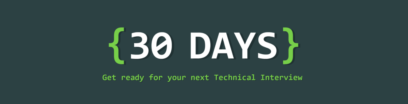 30 days coding. The ultimate guide to ace the Tech Interview. https://30dayscoding.com. Prepare for coding interviews