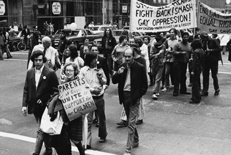 Jeanne Manford and son Morty marching in 1972 NYC Pride parade.