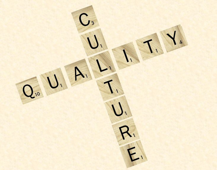 """A graphic that says """"culture"""" and """"quality"""" with Scrabble tiles."""