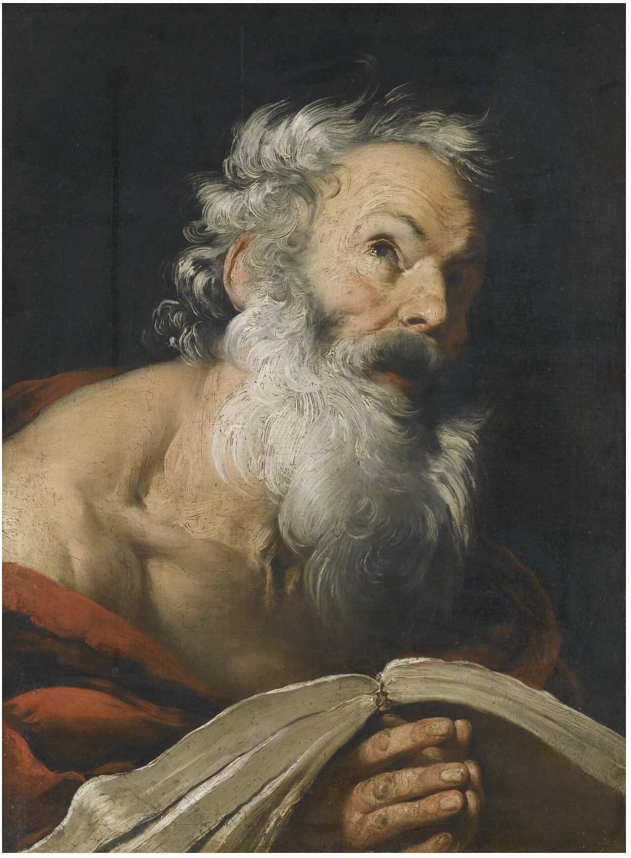 St. Jerome Meditating over the Bible, Bernardo Strozzi's (1581–1644)