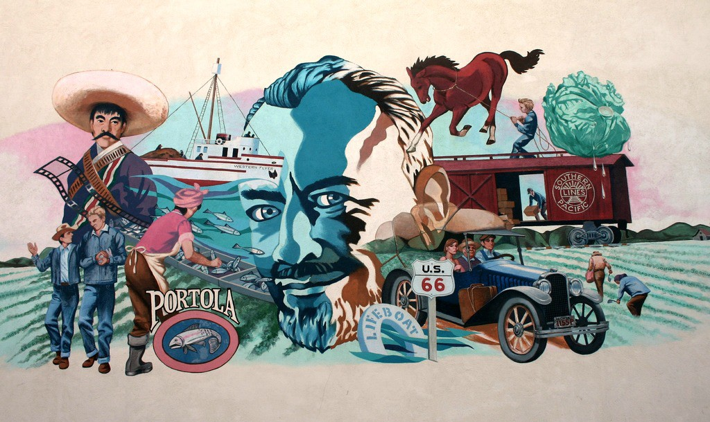 Mural in front of the National Steinbeck Center in Salinas, California.