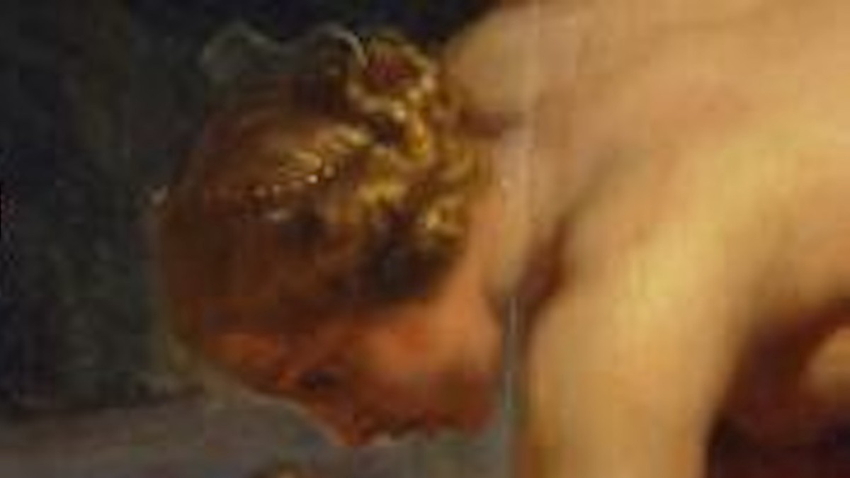 Detail from the book cover of 'On Immunity'. It is a portrait of a woman bending down, from the 17th-century Rubens oil painting 'Achilles Dipped Into the River Styx.'