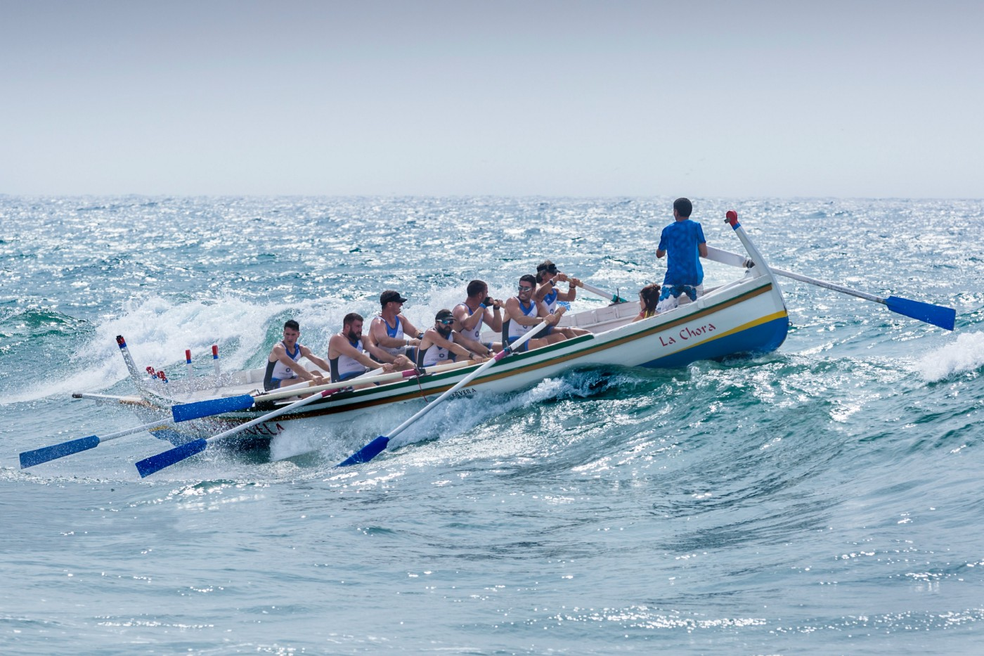 Image of team rowing a boat.