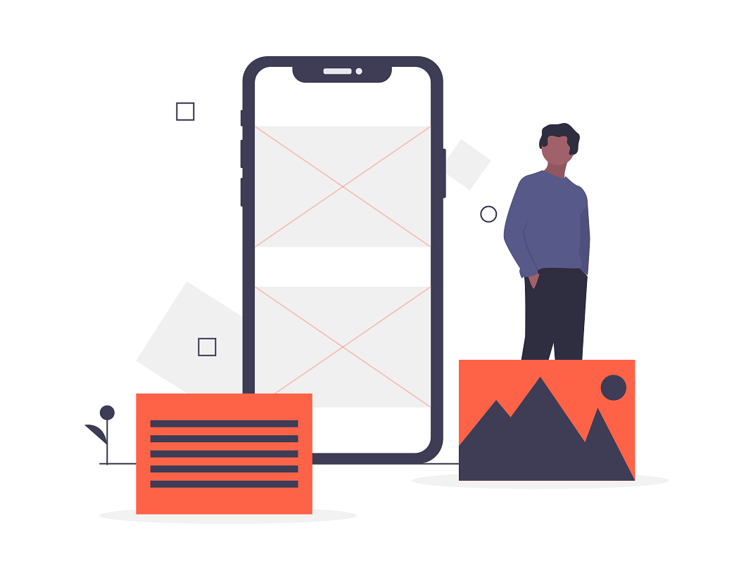 Drawing of phone screen layout