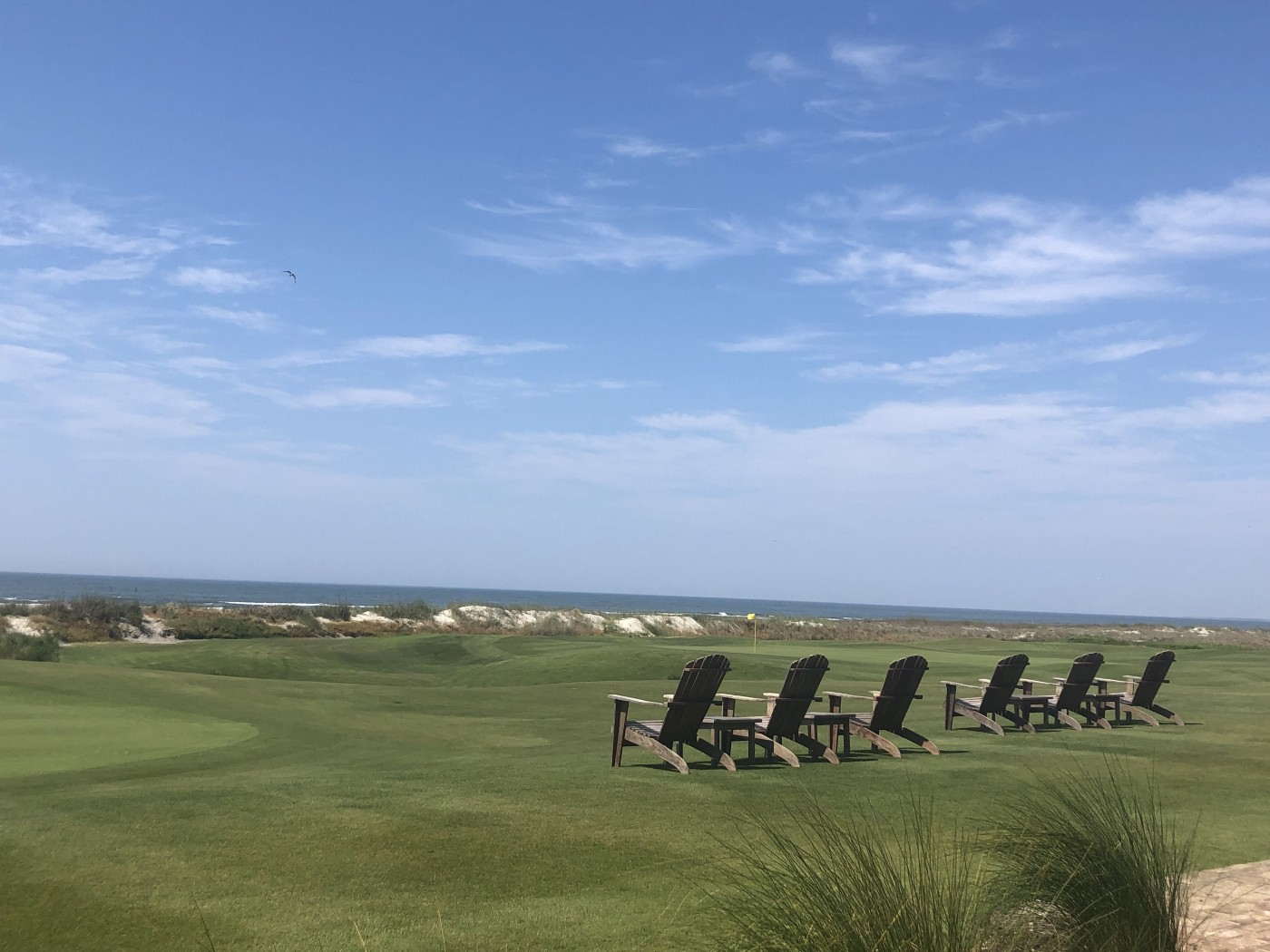 A row of six chairs on a vast green lawn looking out at the ocean under a wide blue sky
