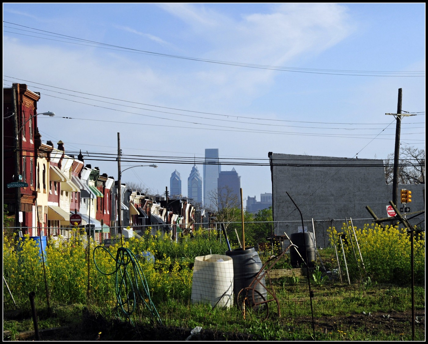 This is a view of Philadelphia from the Glenwood Green Acres, a public garden located at 18th Street and Glenwood Avenue.