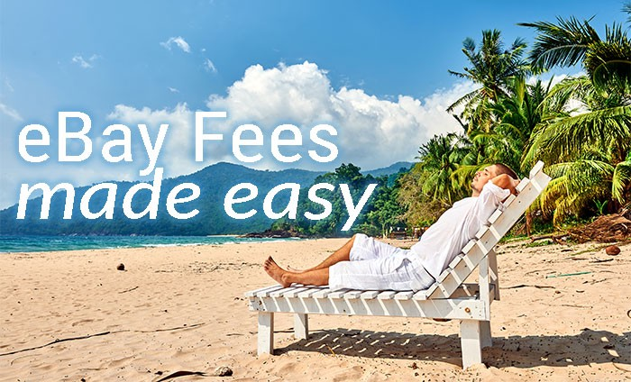 """Man in white robe on beach with text that says """"eBay fees made easy"""""""