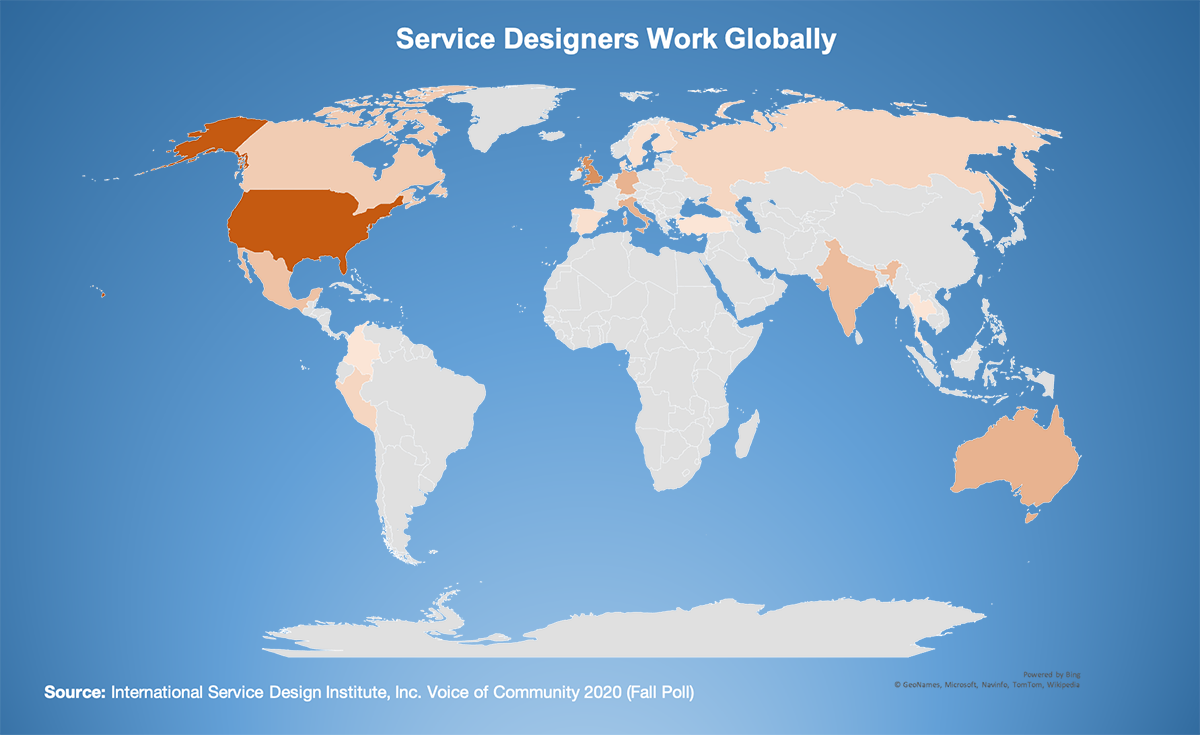A map of the world showing service designers located around the world.