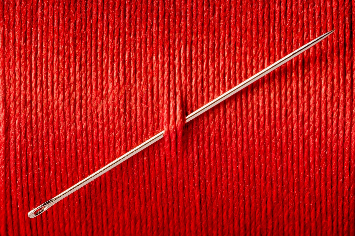A needle stuck through a wall of red thread.