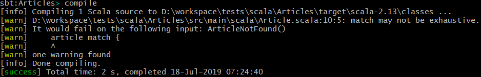 sbt compile output