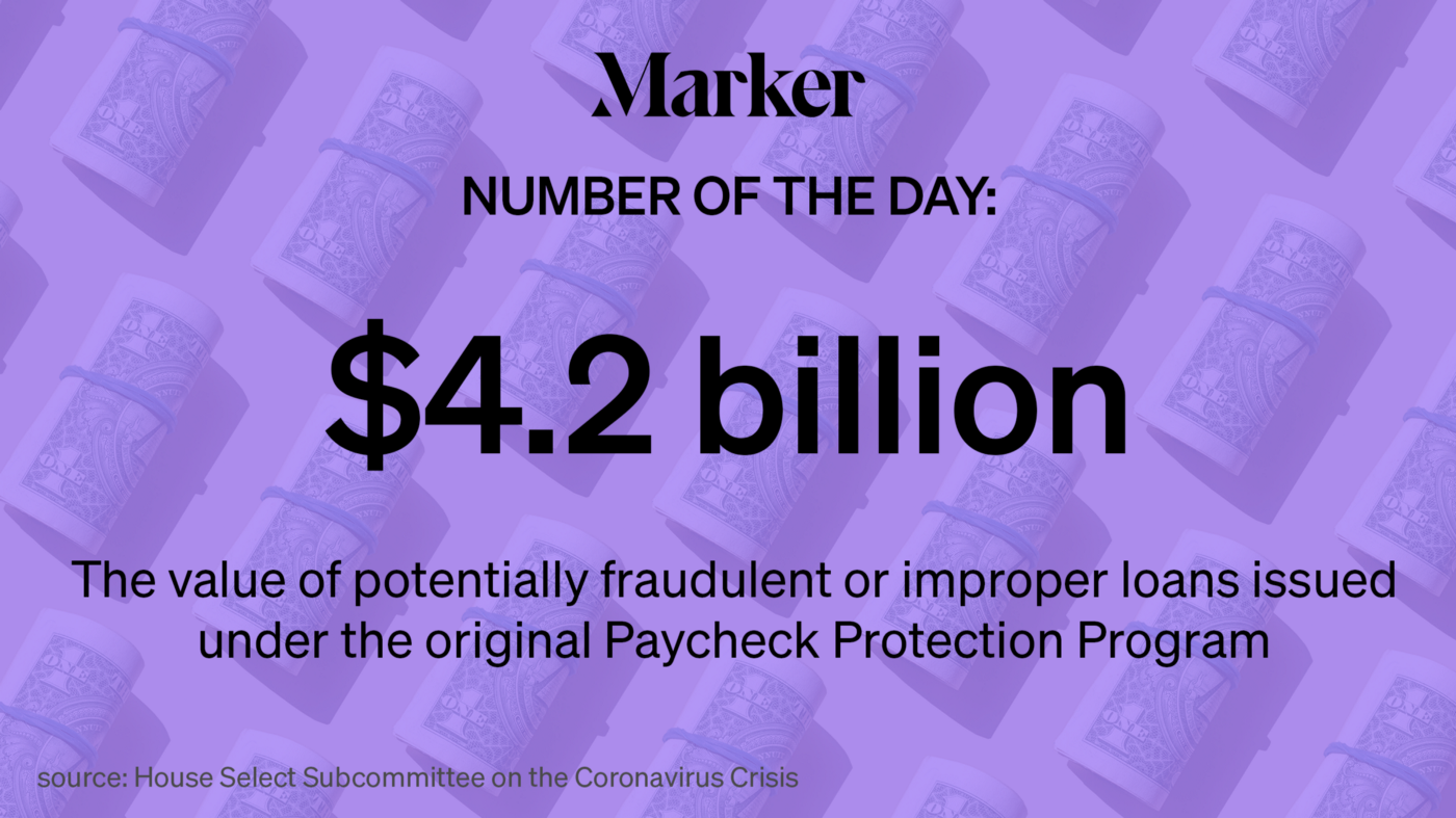"""Marker # of the Day text """"$4.2 billion """" placed on a backdrop of rolls  of US dollars."""