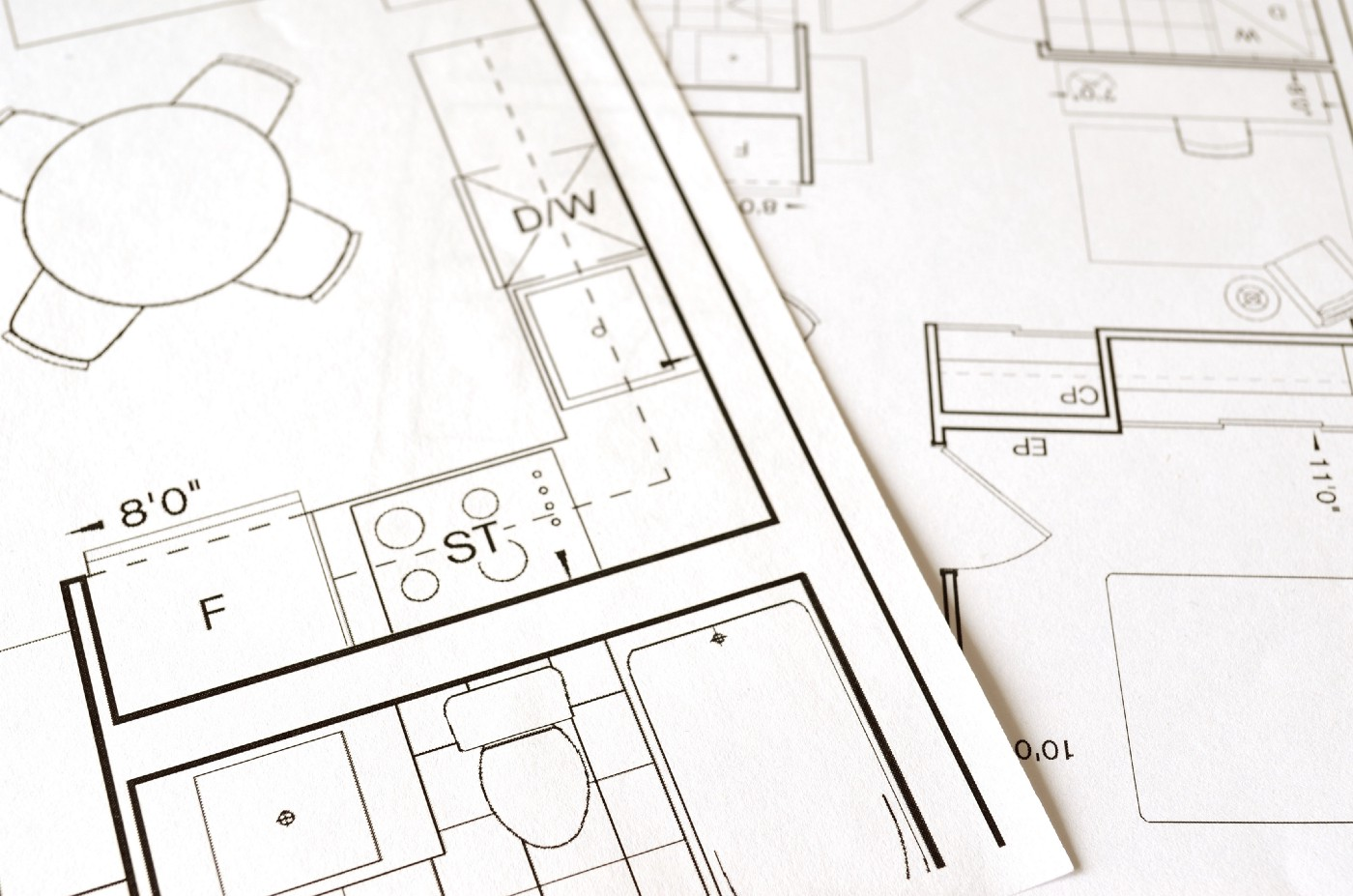 Close-up of architectural blueprints.