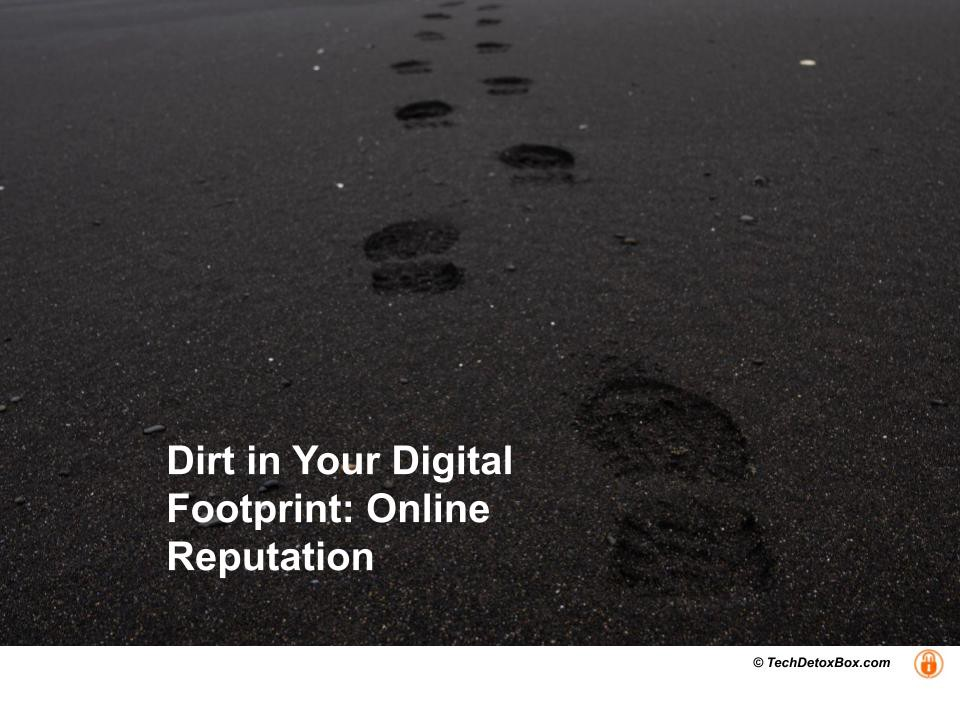 Dirt in Your Digital Footprint: Online Reputation techdetoxbox.com
