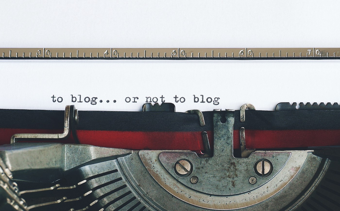 """""""To blog… or not to blog"""" typed out."""