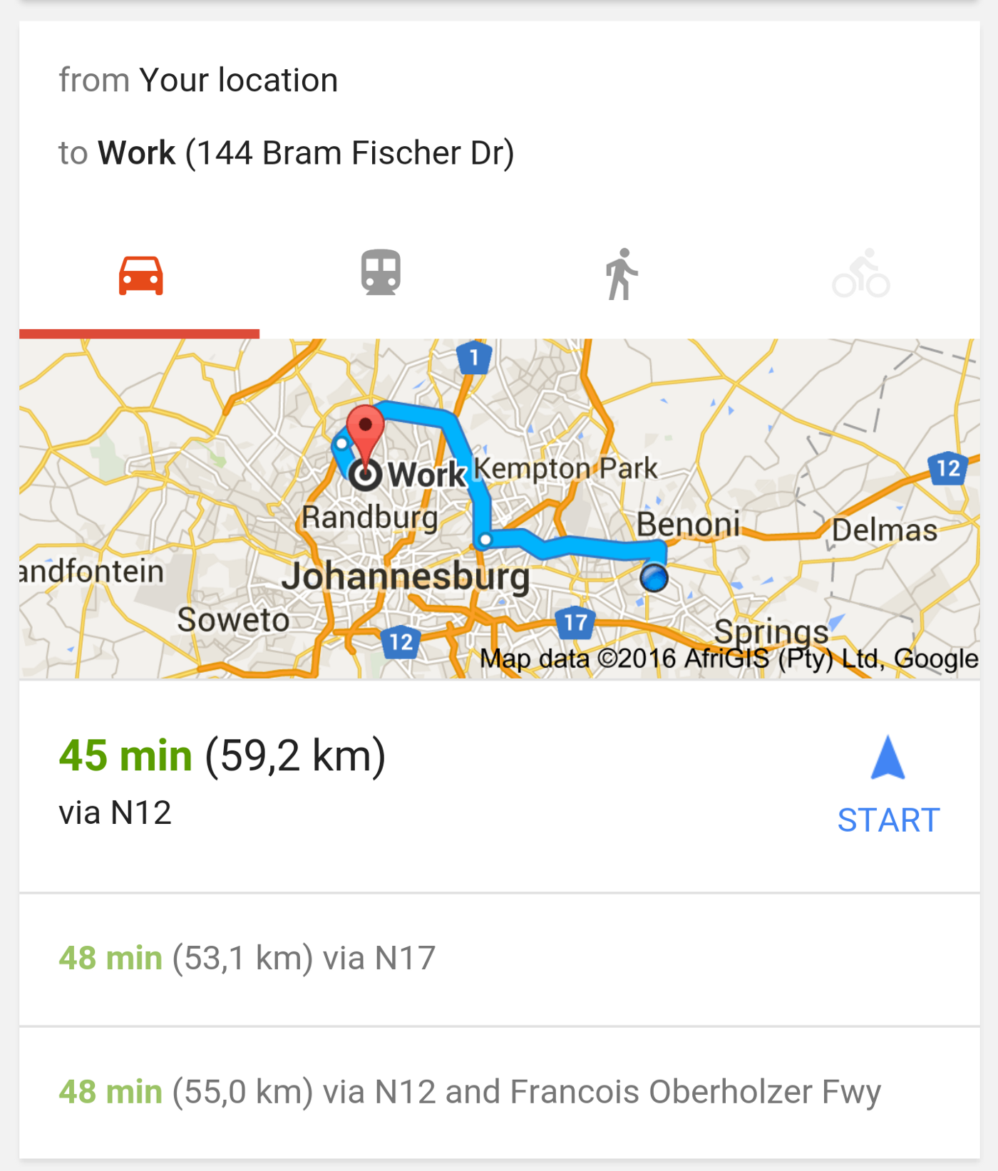 An example of a Google Now card