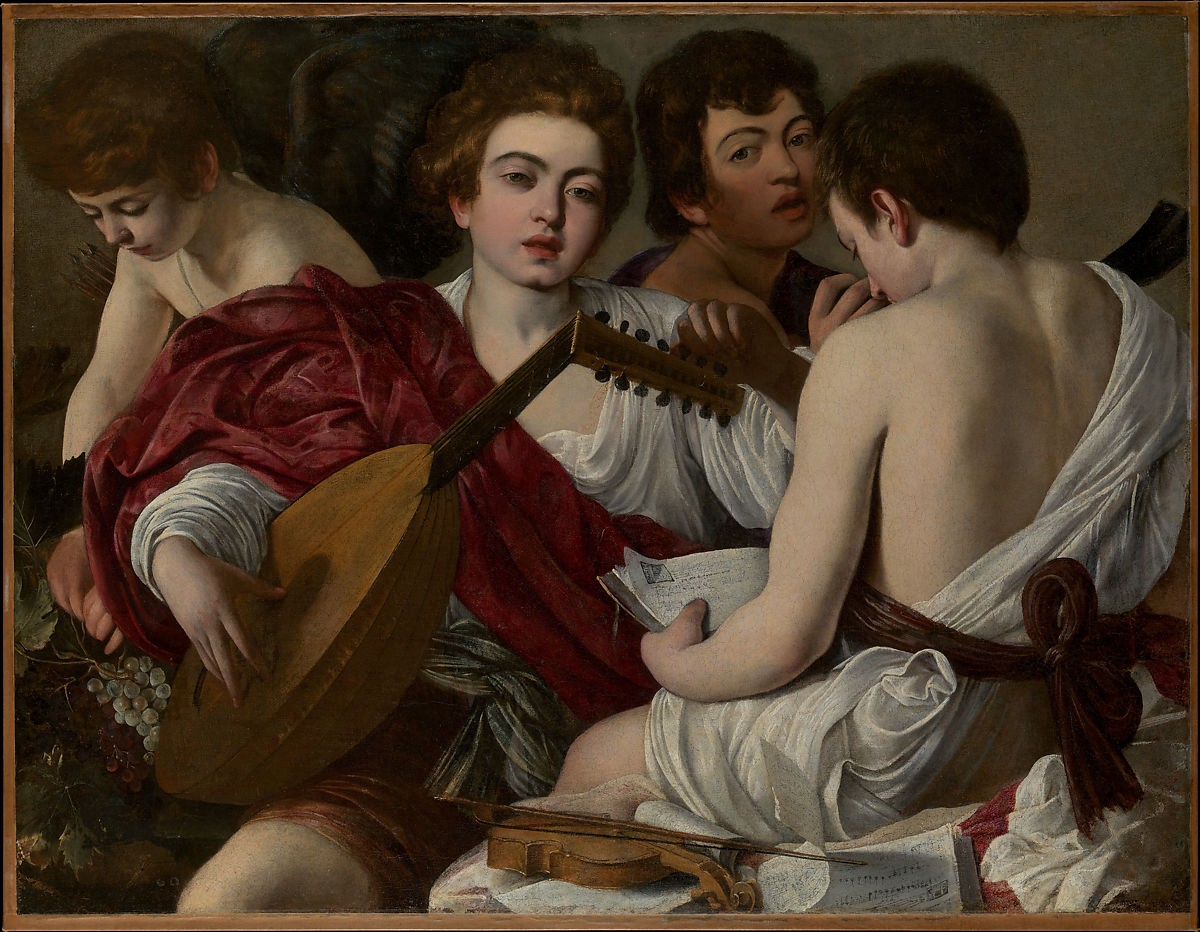painting of a young male lute player in a red robe with three other male figures, partially nude, surrounding him