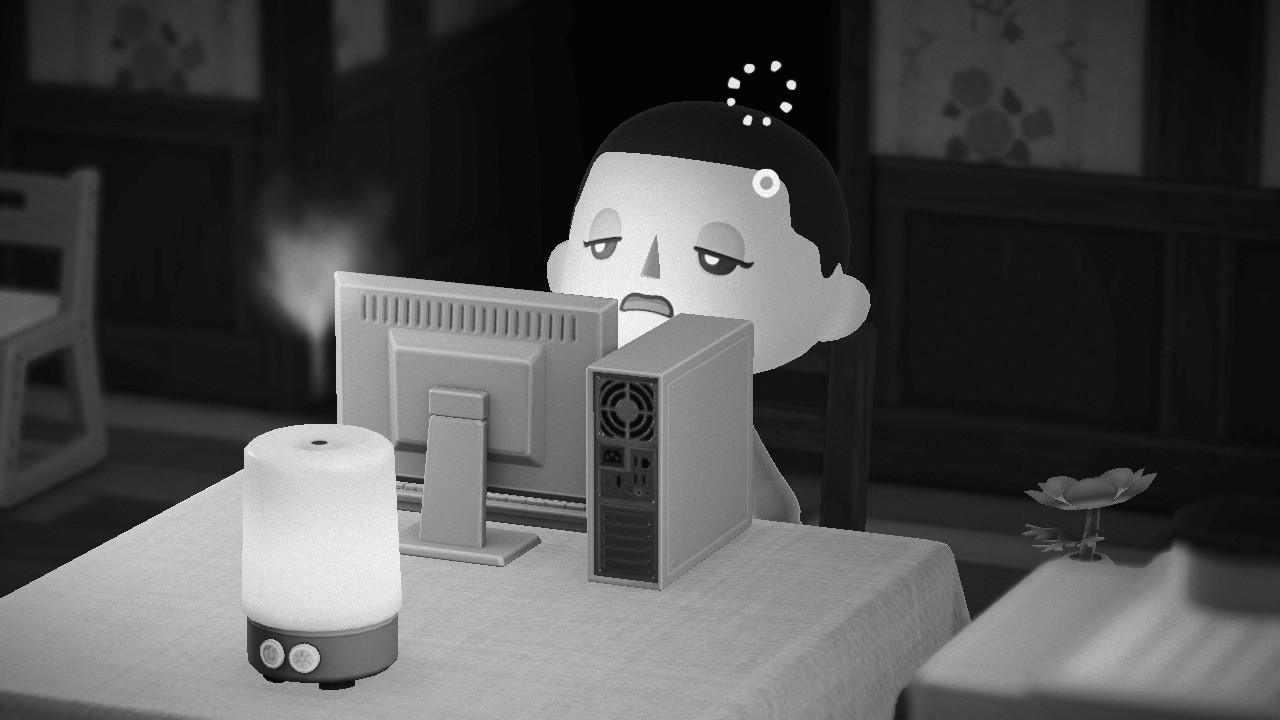 A black and white screenshot from Animal Crossing: New Horizons. The player villager looks dazed in front of a computer.