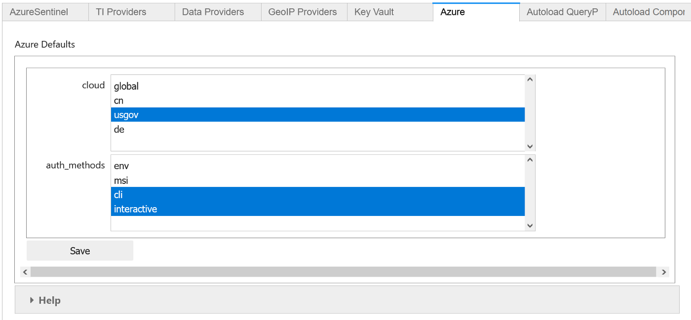MSTICPy configuration tool showing selection of Azure cloud and default authentication settings.