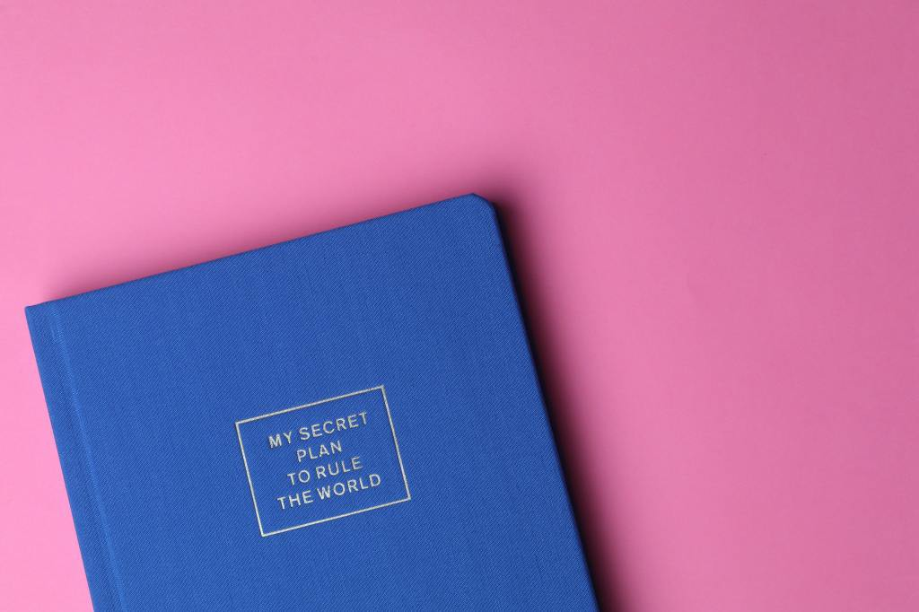 "A blue planner notebook that says ""My Secret Plan to Rule the World"" on a pink background."