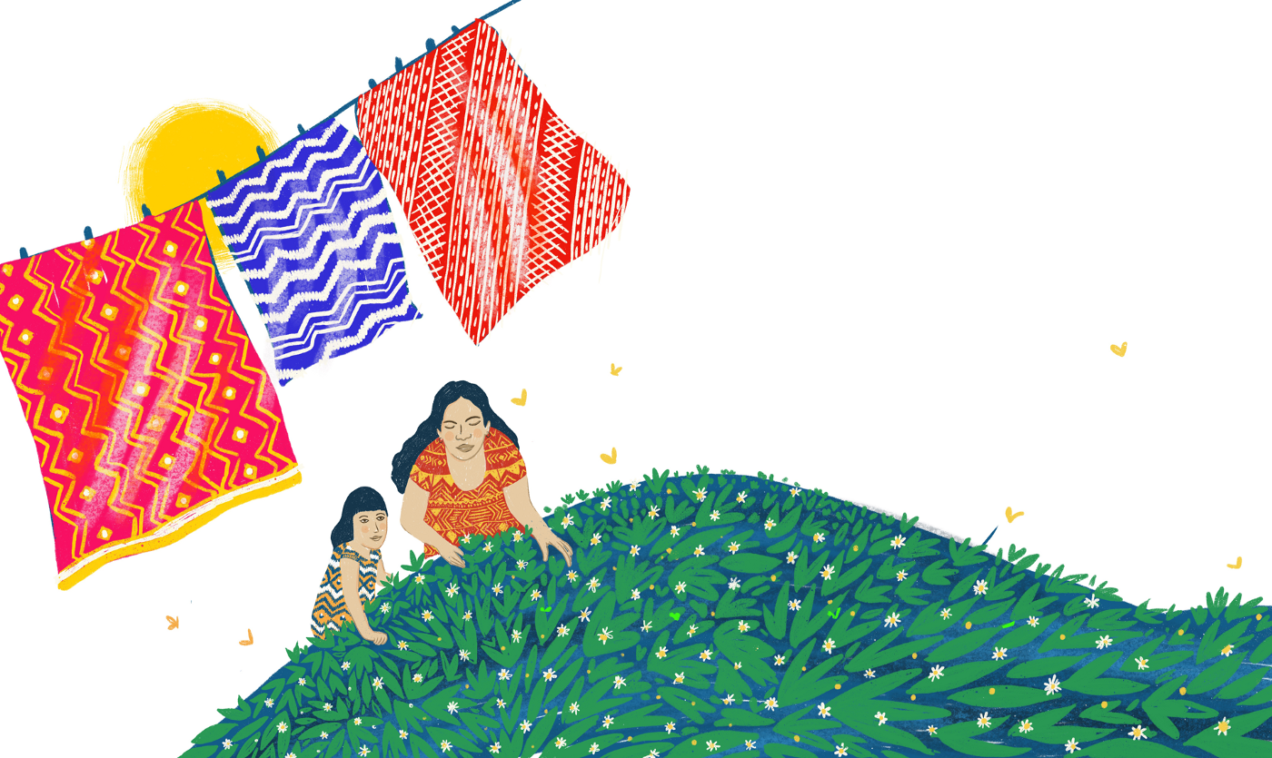 A person & a child tend to a green, flowery field. Three patterned cloths on a line billow in the wind as the sun shines.
