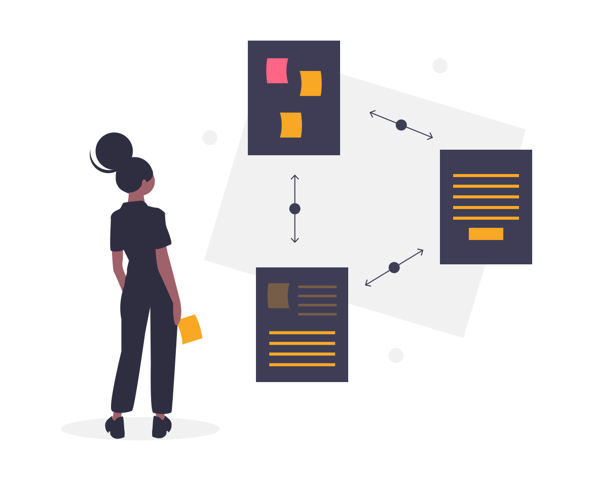 Illustration with a woman holding a post it and 3 documents representing a design thinking process
