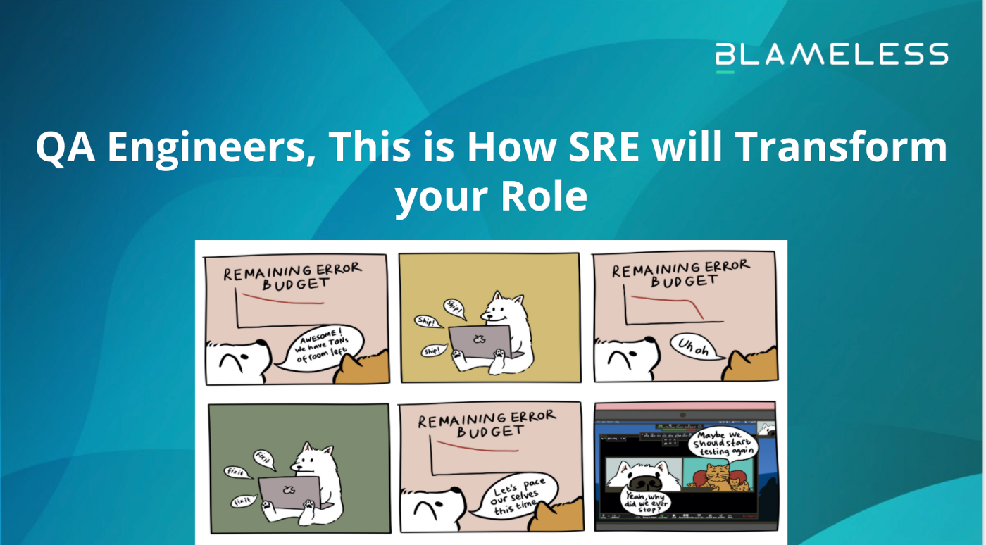 """QA Engineers, This is How SRE will Transform your Role"" on blue background with comic later in article inserted."