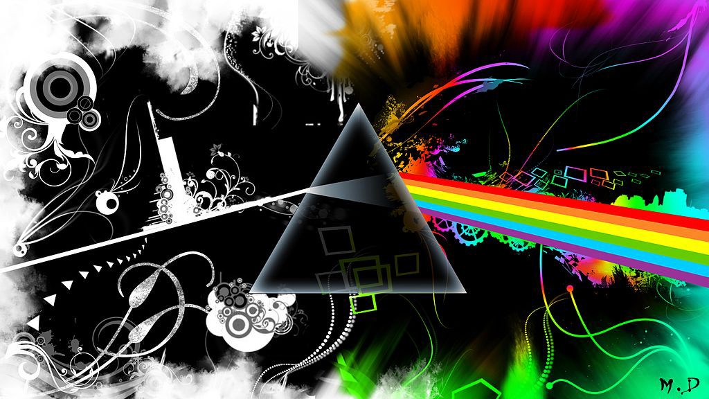 A collage around a prism, inspired by the visual art of Pink Floyd
