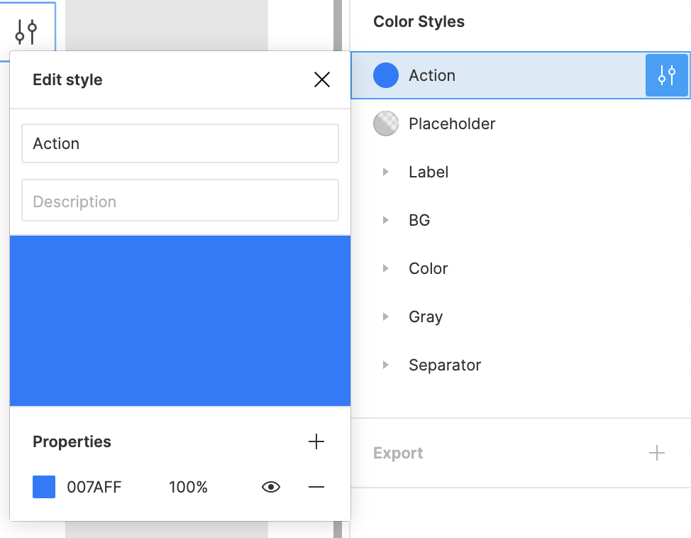 Shows the side panel with action color selected. Window is revealed to allow you to edit the color