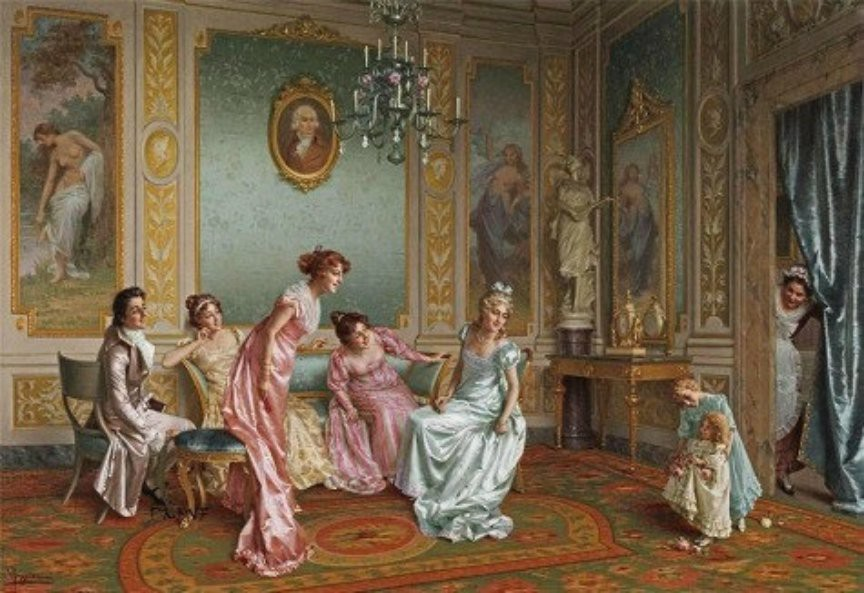 A mother and children in the sitting room during the Regency period