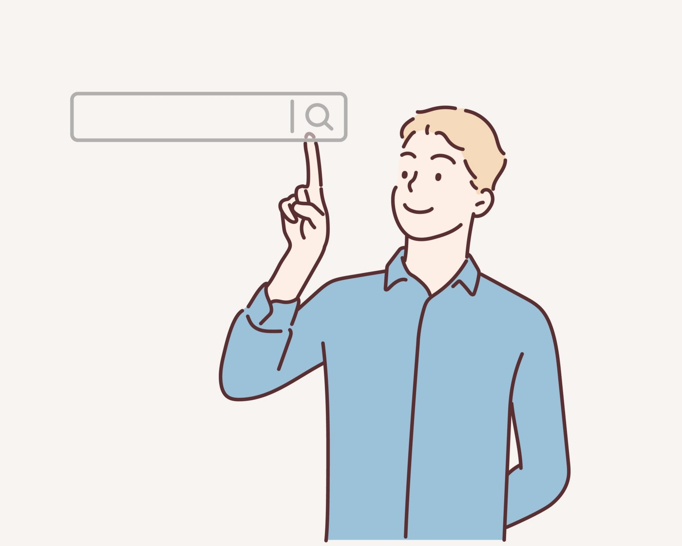An illustration of a man clicking internet search query box on computer touch screen.