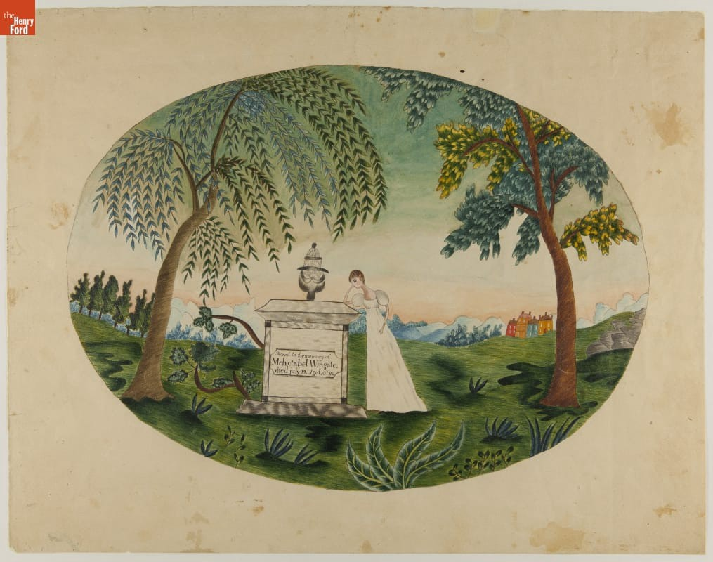 Oval painting of a gravestone with a young woman leaning against it; trees in the foreground & mountains or hills behind.
