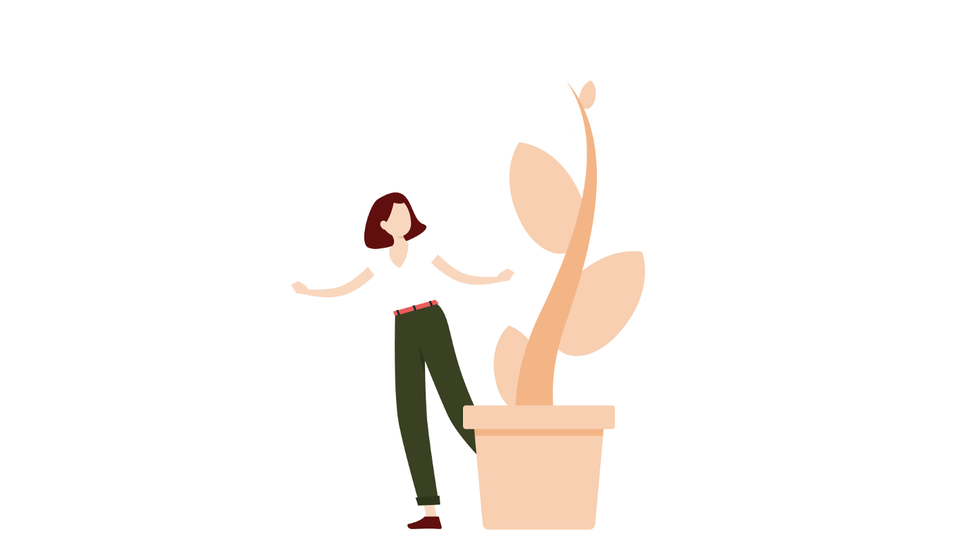 A vector image of a girl and a growing plant