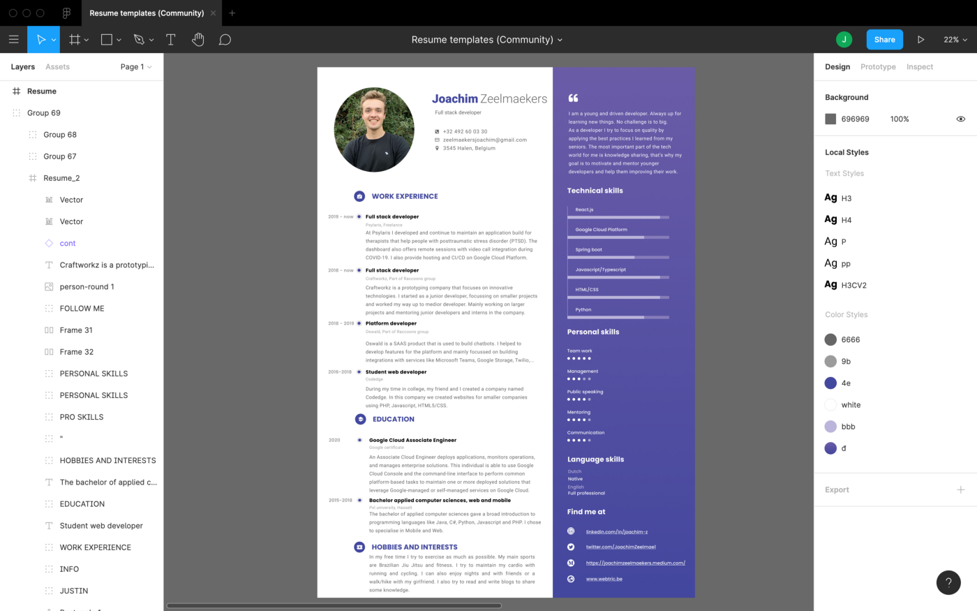 An example of a resume created in Figma