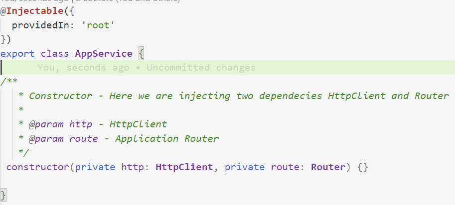 Use of Constructor in Service
