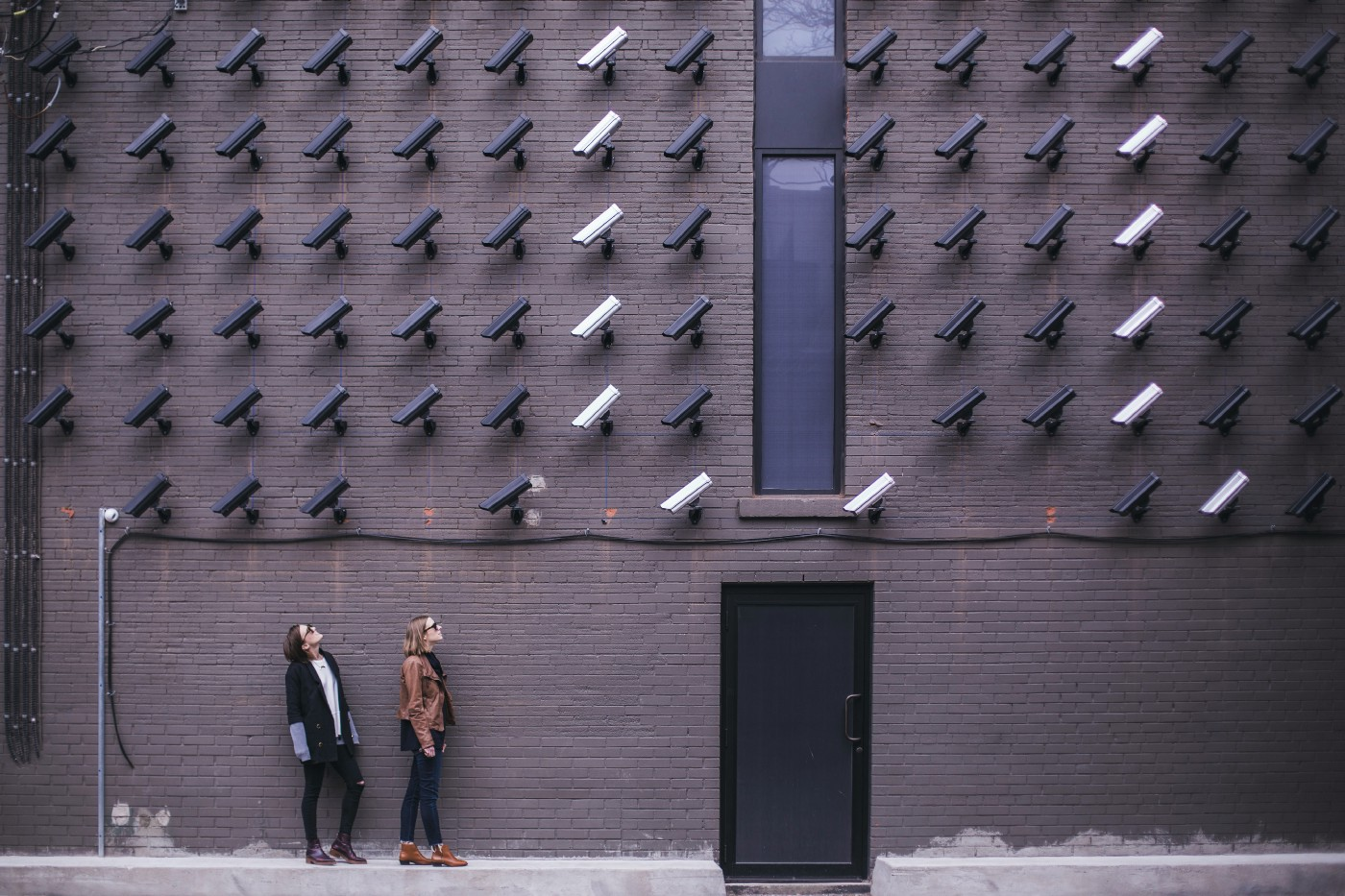 surveillance cameras looking down at two teenagers