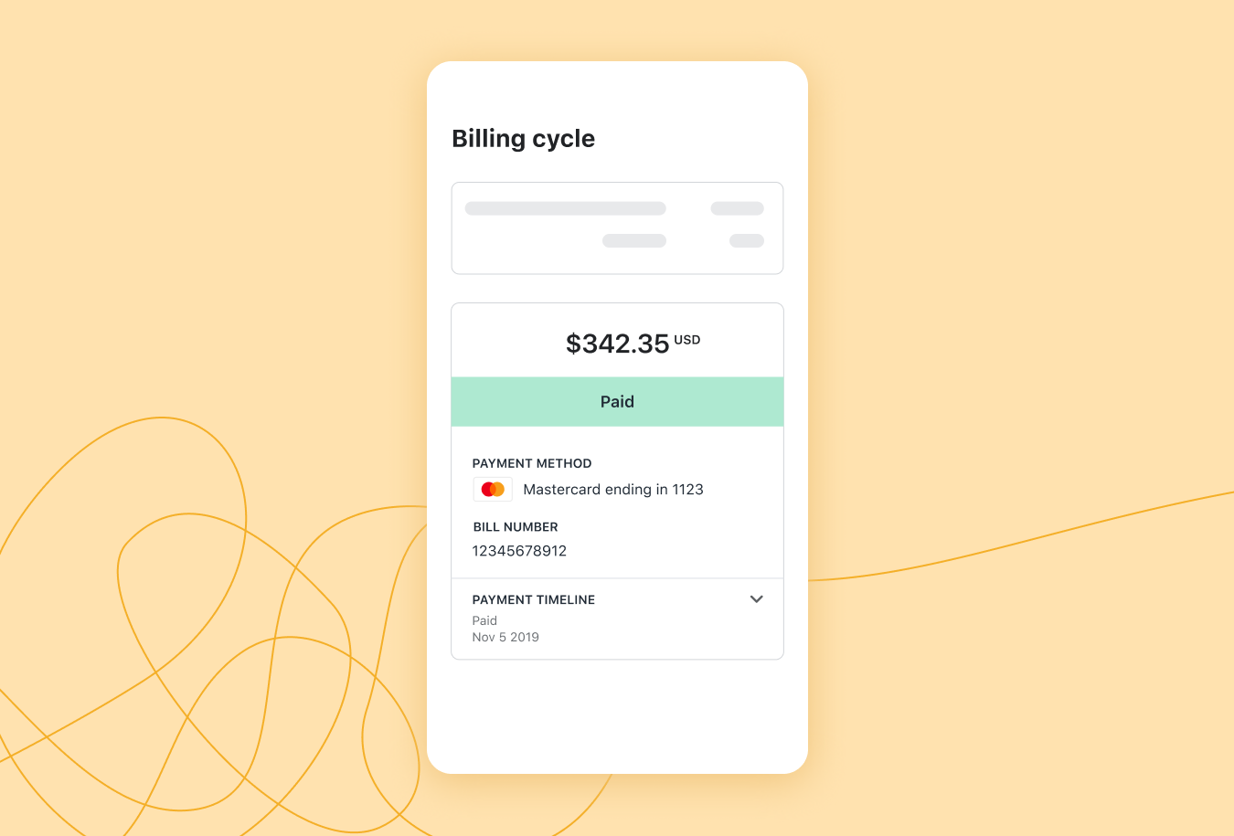 A screen shot of Shopify's Billing experience.