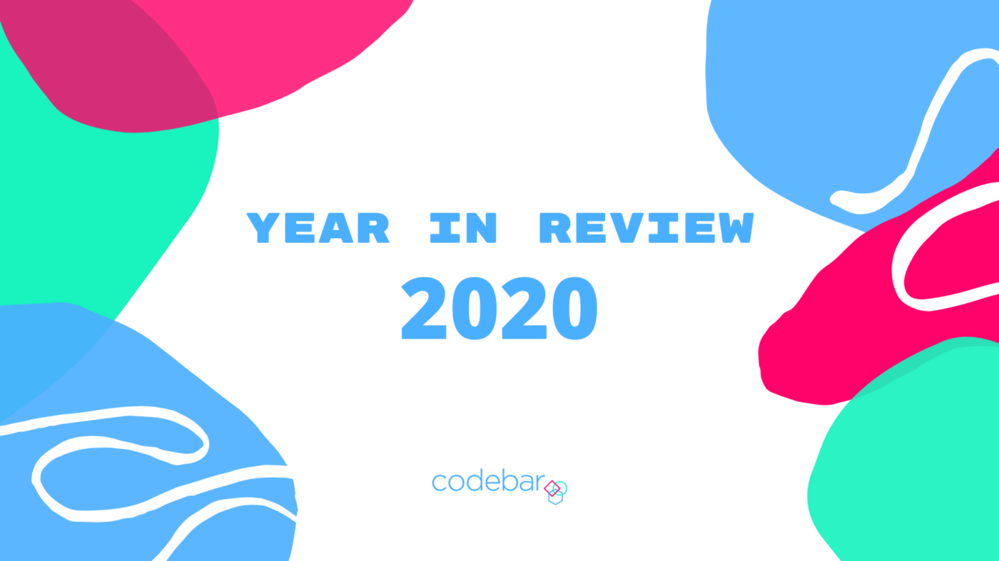 An abstrscr grsphic featuring the words Year in Review 2020 and the codebar logo