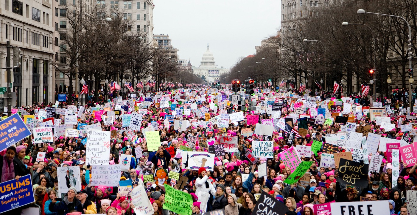 Women marching in Washington 2017 for the international women's march
