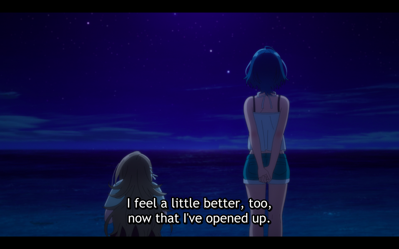 Kukuru and Fuuka talking to each other about their problems on the beach at night.