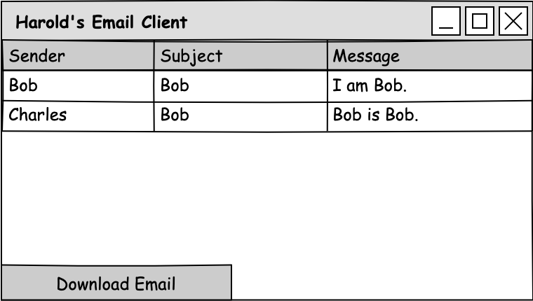 A mockup of a window that contains a table with a column for the sender, the subject, and the message, and a button to download the email.