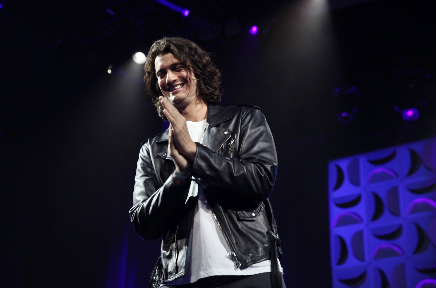 Adam Neumann, founder of WeWork, speaks on stage at the WeWork San Francisco Creator Awards.