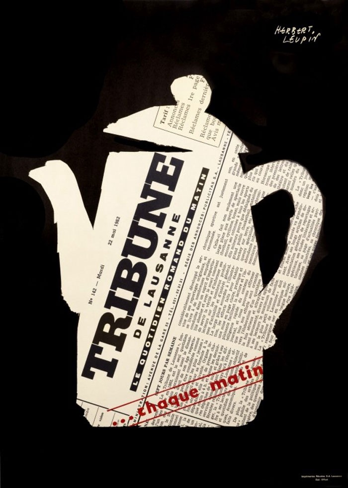 Herbert Leupin poster featuring a coffeepot and the Tribune