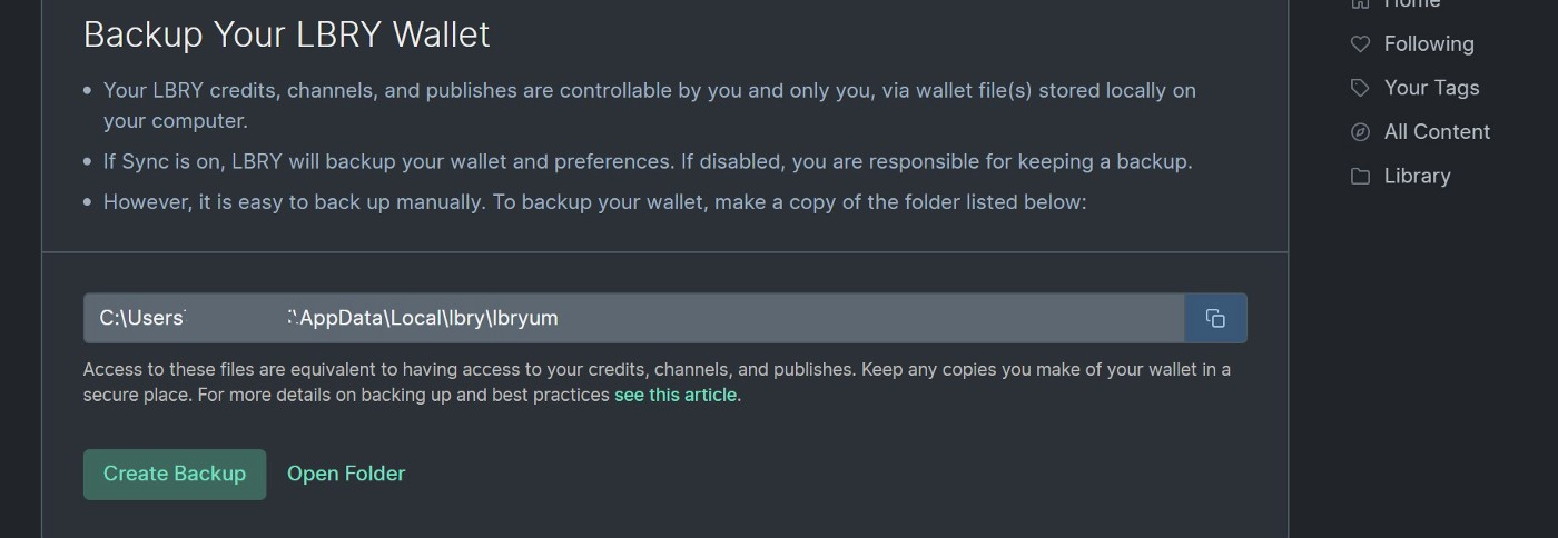 Create Backup of LBRY Wallet