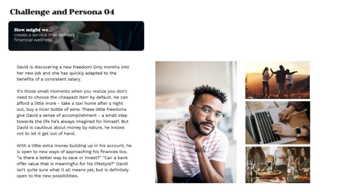 Challenge and Persona—a short description, using text and photographs, of our target user