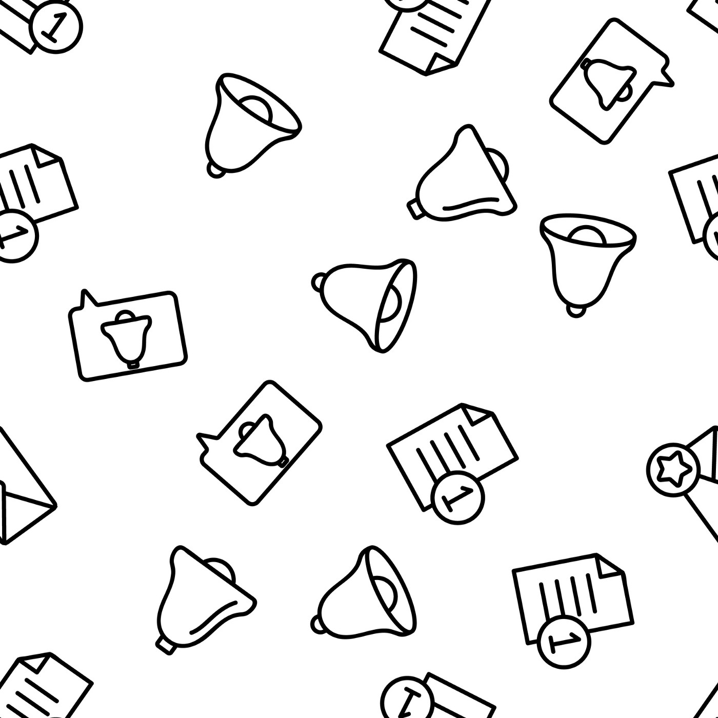 An illustration of notification icons in a jumble