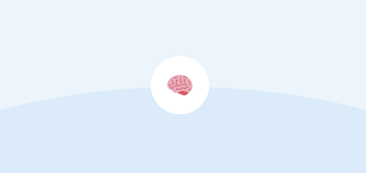 Illustration of a brain in a light blue background